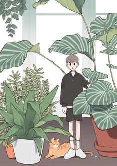 171031 : 네이버 블로그 Korean Illustration, Illustration Art, Aesthetic Anime, Aesthetic Art, Arte Copic, Character Art, Character Design, Cute Art Styles, Plant Art