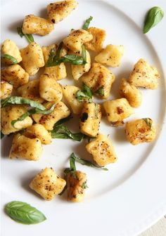 The Italian Dish - Posts - Fried Lemon Gnocchi withBasil - vegetarian. This is great. I never fried gnocchi before, it adds a great texture to it