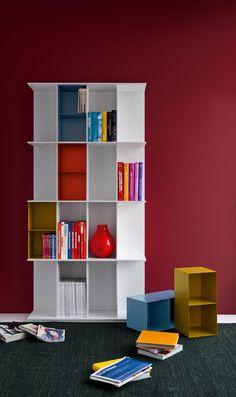 DIVISION is a compact 16 compartment bookcase, to be placed against the wall, featuring an extremely thin yet sturdy frame only 3/8'' thick. Aesthetically it is charachterized by its open sides and the possibility of inserting practical and colourful (optional) aluminium divider containers into its 16 compartments.Available in different versions and sizes, discover the one that best suits your home. #calligaris #toronto #bookshelf