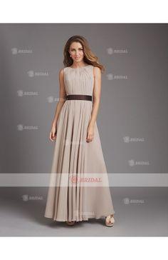 Sheath/Column Round Zipper Floor-Length Chiffon Sleeveless Bridesmaid Dresses
