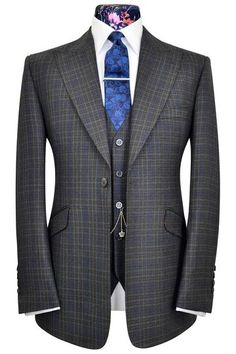 William Hunt Savile Row Indigo Blue three piece peak lapel suit with lavender and sand over-check. Sharp Dressed Man, Well Dressed Men, Mens Fashion Suits, Mens Suits, Dandy, Suit Combinations, Look Formal, Style Masculin, Three Piece Suit