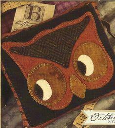 Primitive Folk Art Wool Applique Pattern: Woolen PIN CUSHION