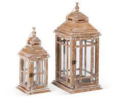One Kings Lane - Winter Warm-Up - Wooden Lanterns, Asst. of 2, Brown