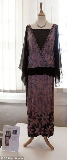 Purple passion: This patterned evening dress was worn by Lady Cora Crawley, played by Elizabeth McGovern