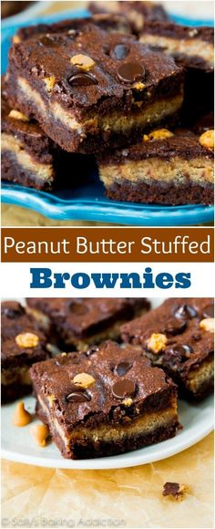 Fudgy homemade brownies stuffed with a creamy peanut butter filling. If you like peanut butter cups, you\'ll love these!!
