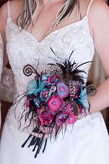 Fabric and feather bouquet
