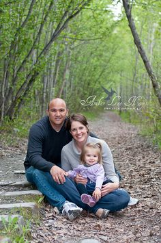Love this photo w/ the woods in the background. Family of 3 Pics.