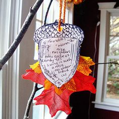 'seeds of gratitude' thankful tree ... pretty branches in a decorated vase.  voila - centerpiece or entry way table piece