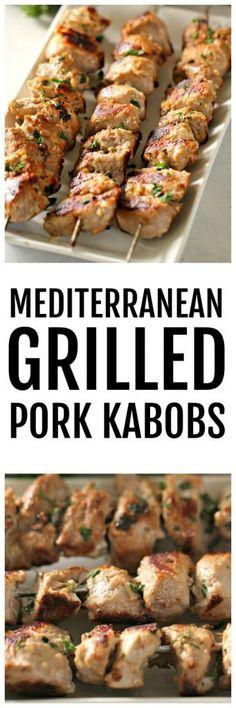 Mediterranean Grilled Pork Kabobs (Raznjici) Six Sisters' Stuff Kabob Recipes, Grilling Recipes, Pork Recipes, Lunch Recipes, Appetizer Recipes, Whole Food Recipes, Dinner Recipes, Dinner Ideas, Greek Recipes