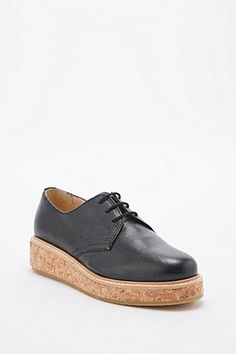 Deena & Ozzy - Chaussures à lacets Hickory noires semelle liège - Urban Outfitters