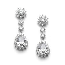 Wedding Earrings Bride or Bridesmaids Cz Dangle Bride or bridesmaid earrings feature Cubic Zirconia measure inches long by inches wide.Brilliant CZ stones in a CZ bejeweled frame. Plated in no-tarnish Genuine Silver Rhodium Pageant Earrings, Bride Earrings, Bridesmaid Earrings, Wedding Earrings, Women's Earrings, Bridesmaids, Bridal Accessories, Wedding Jewelry, Fashion Accessories
