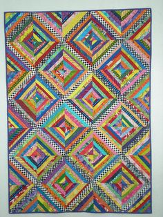 string quilt with checked centers