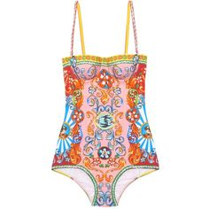 Dolce & Gabbana Carretto-print balconette swimsuit (£385) ❤ liked on Polyvore featuring swimwear, one-piece swimsuits, pink multi, one piece swimsuit, pink one piece swimsuit, pink swimwear, print swimsuit and shelf bra