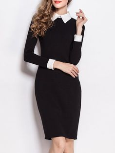 Shop Midi Dresses - Black Sheath Shirt Collar Long Sleeve Solid Work Dress online. Discover unique designers fashion at StyleWe.com.