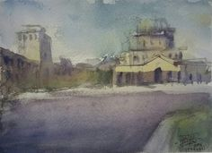 Armenia - Yerevan Kostas Vlachopoulos 2017 Watercolour on paper (Saunders Waterford) Armenia, Watercolour Painting, Abstract Art, Landscape, Paper, Summer, Scenery, Summer Time, Corner Landscaping