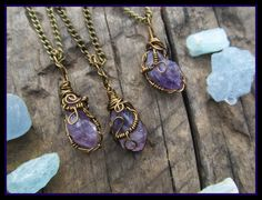 Raw Amethyst necklace, amethyst necklace, crystal necklace, purple stone, wire wrapped, crystal necklace, raw, bronze, february birthstone