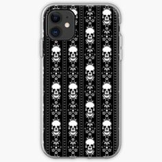 """""""Black & White Skull Stripes"""" iPhone Case & Cover by HavenDesign Iphone 4s, Iphone Wallet, Semi Transparent, Iphone Case Covers, Cover Design, Cyber, Mall, Shells, Stripes"""