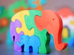 Wooden Elephant Puzzle, Child's Puzzle, Kid's wood Toys. Wooden toys, wooden animal puzzle. eco-friendly handmade toys, children. $10.00, via Etsy.