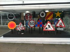 """50 Years of British Road Signs - London's road signs reinterpreted at the Design Museum - In the """"Tank"""" outside"""