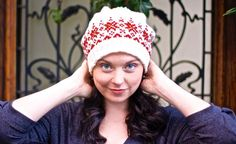 Blog post: Stranded knitting a beanie I called 'strawberries and cream'