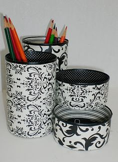 Gil: Cans, cans of soft drinks, how to recycle in crafts, decoration, the result surprises Tin Can Crafts, Tape Crafts, Sewing Crafts, Diy And Crafts, Arts And Crafts, Pot A Crayon, Recycle Cans, Desk Organization, Craft Storage