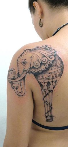 Elephant-Tattoo-On-Back-Shoulder Awesome Shoulder Tattoo Designs 2020 Tribal Tattoos, Trendy Tattoos, Forearm Tattoos, Love Tattoos, New Tattoos, Tattoos For Women, Tattoos For Guys, Tatoos, Tattoo Platzierung