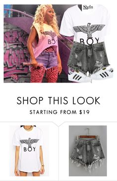 """BOY"" by anulll ❤ liked on Polyvore featuring Nicki Minaj, BOY London and adidas"