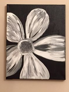 Acrylic Painting On Canvas By Lisa Fontaine Flower Black And White B W