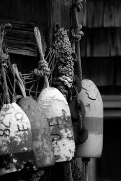 old buoys black and white