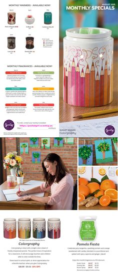 Scentsy August 2015 Warmer of the Month Colorgraphy and Scent of the Month Pomelo Fiesta. COLORGRAPHY: is lined with a bright color wheel of sharpened pencils. Perfect for teachers and children alike. POMELO FIESTA: Juicy tangerine, sparkling pomelo and orange sweetened with vanilla, blended in a punchbowl and spiked with spicy cayenne and ginger. Warmer is $31.50