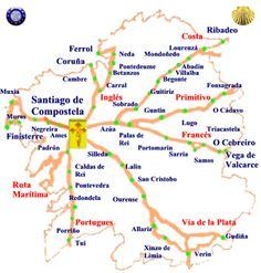 Mapa de los Caminos de Galicia, con Pueblos