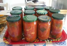Lecsó télire Dips, Chutney, Salsa, Pesto, Mason Jars, Food And Drink, Homemade, Canning, Syrup