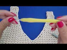 Crochet Shirt, Crochet Crop Top, Love Crochet, Knit Crochet, Crochet Long Dresses, Crochet Clothes, Crochet Videos, Diy And Crafts, Crochet Necklace