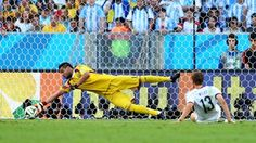 Sergio Romero of Argentina makes a save