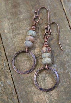 Copper Earrings, Copper Jewelry, Wire Jewelry, Beaded Earrings, Boho Jewelry, Beaded Jewelry, Handmade Jewelry, Jewelry Design, Cowgirl Jewelry