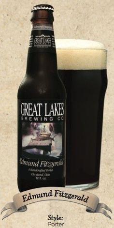 Cerveja Great Lakes Edmund Fitzgerald Porter, estilo Porter, produzida por Great Lakes Brewing Company , Estados Unidos. 5.8% ABV de álcool.