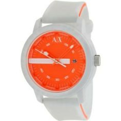 629badfb789 Relógio Armani Exchange Men s AX1242 White Silicone Quartz Watch with  Orange Dial  Armani Exchange