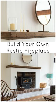 Build a rustic fireplace from scratch to look old using recycled timber, old bricks and whitewashed lining board. Wood stove.