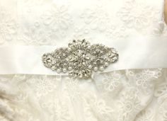 Satin/organza pearl Bridal SashWedding by whitegardenlace on Etsy, $29.99