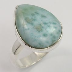 Natural LARIMAR Gemstone 925 Sterling Silver Trendy Ring Size US 6.75 Wholesale #Unbranded #Fashion