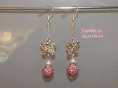 boucles d'oreilles shamballa papillon rose boucle d'oreille (photo 1)