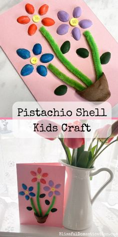 A simple tutorial for a pistachio shell kids craft, creating a lovely floral card. Spring Crafts For Kids, Craft Projects For Kids, Crafts For Kids To Make, Art For Kids, Creative Arts And Crafts, Simple Crafts, Spring Activities, Craft Activities, Pistachio Shells