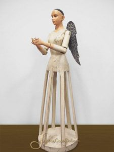 "25"" Santos Angel with Metal Wings - All Wood, Hand Carved by Santos Cage Doll"