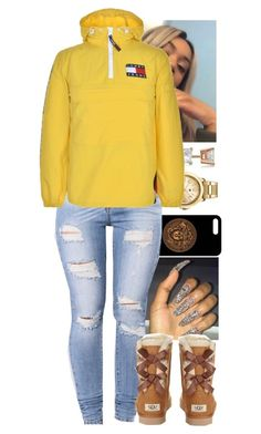 """""""Soon...8/28/17"""" by fashionfabulou ❤ liked on Polyvore featuring Versace, Topshop, Allurez, Tommy Hilfiger and UGG Australia"""