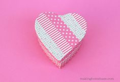 Washi Tape crafts: Cover heart boxes in washi tape for Valentine's Day