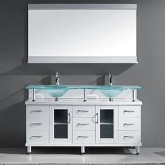 This double sink vanity makes a statement in your bathroom with its lovely frosted glass counter top. Modern yet timeless, this beauty will transform your bathroom into an updated and contemporary space.