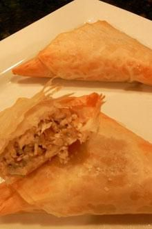 Tropical Chicken Triangles Recipe...sounds good...but might be too much work...