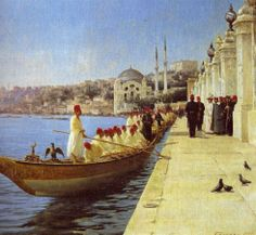 Fausto Zonaro, - Impressive with Table Istanbul Painter Ottoman paintings Jean Leon, Empire Ottoman, Ottoman Turks, Tulip Painting, Painting Art, Renoir, Exotic Art, Pics Art, Basel