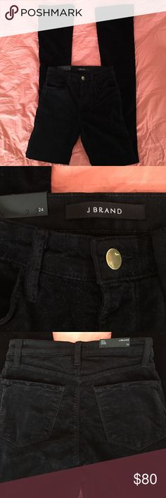 "J Brand Remy High Rise Slim Boot Velvet Pants J Brand Remy High Rise Slim Boot Black Velvet Pants Size 24   Waist: 25"" Inseam: 33"" Rise: 9"" Hips: 29"" Leg Opening: 7.5"" J Brand Jeans Boot Cut"