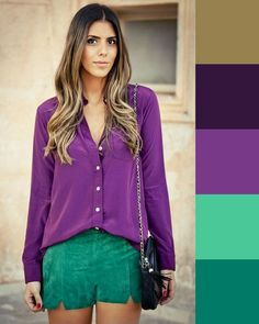 Best Ways To Style Your Outfits - Fashion Trends Colour Combinations Fashion, Color Combinations For Clothes, Color Blocking Outfits, Fashion Colours, Colorful Fashion, Color Combos, Lila Outfits, Purple Outfits, Colourful Outfits